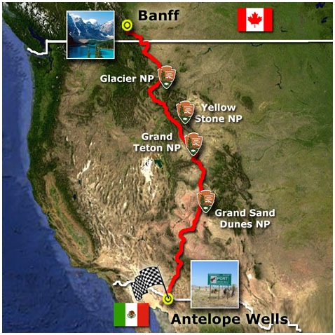Bike Canada To Mexico Canada zigzags along the